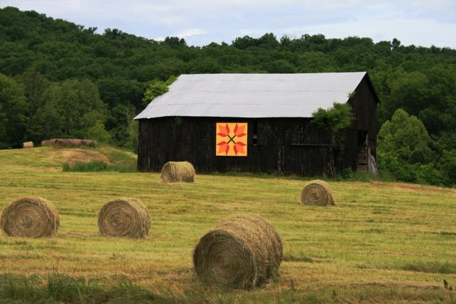 Barn with quilt square and hayfield